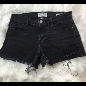FRAME Black Denim Jean Shorts